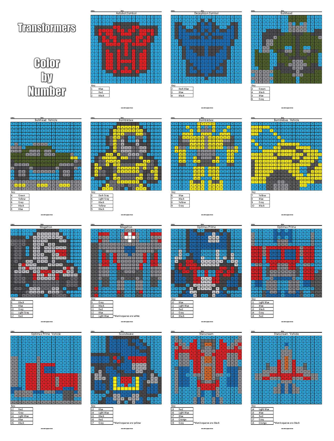 Similiar Transformers Color By Number Keywords